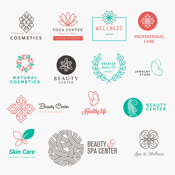 set of labels and badges for beauty, cosmetics, spa and wellness - beauty stock illustrations, clip art, cartoons, & icons