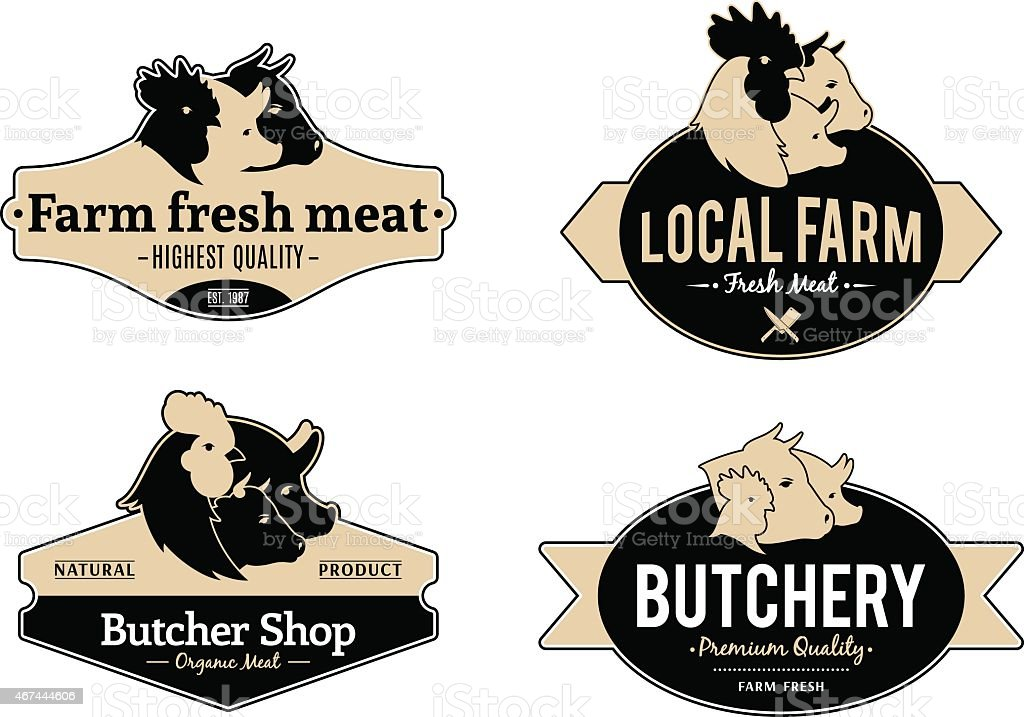 Set of Labels and Design Templates for Meat Stores and Product vector art illustration