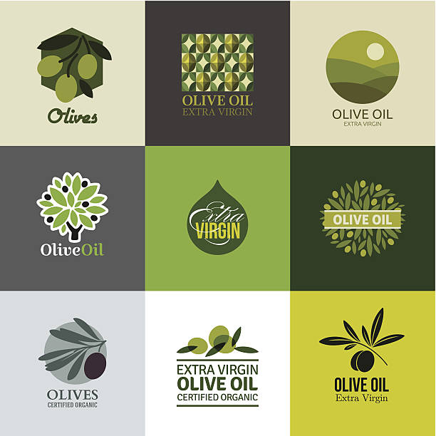 Set of labels and emblems with olive branch Set of vector labels and emblems with olive branch olives stock illustrations