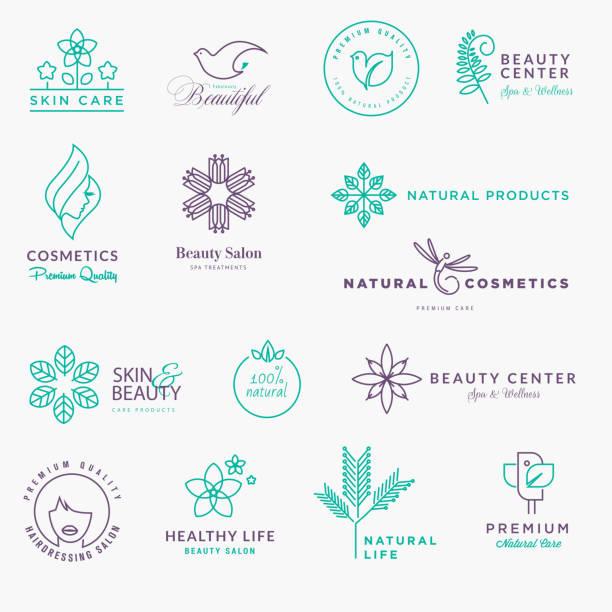 ilustraciones, imágenes clip art, dibujos animados e iconos de stock de set of labels and stickers for beauty, natural products, healthcare - tratamiento de spa