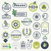 istock Set of labels and stickers for organic food and drink, and natural products 822578442