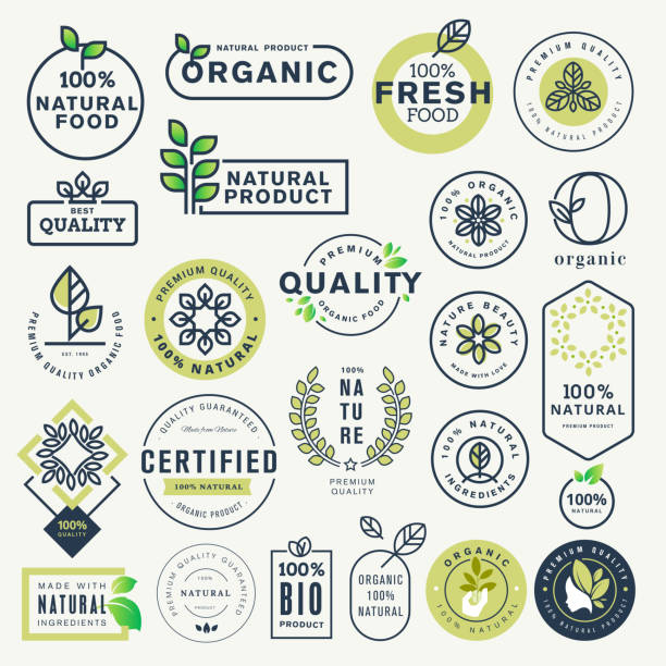 Set of labels and stickers for organic food and drink, and natural products Vector illustration concepts for web design, packaging design, promotional material. organic stock illustrations