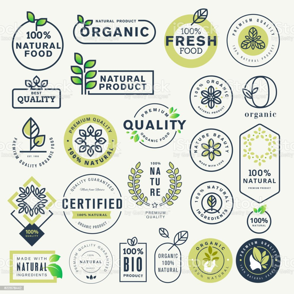 Set of labels and stickers for organic food and drink, and natural products vector art illustration