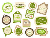 Set of labels and stickers in retro style with letterings for farm food shops. Eco and bio concept. Inscriptions 100% natural, premium quality, certified, GMO free, fresh farm natural food. EPS8