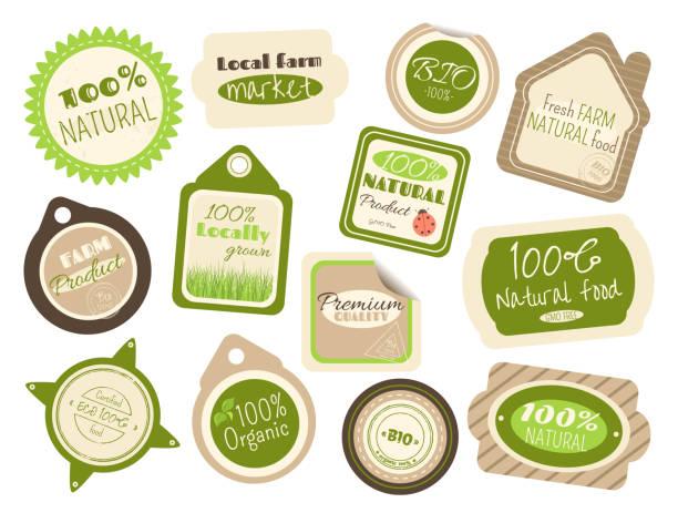 ilustraciones, imágenes clip art, dibujos animados e iconos de stock de conjunto de etiquetas y pegatinas en estilo retro - comida casera