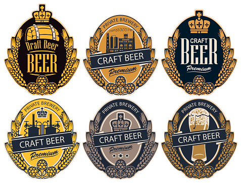 set of labels for beer and brewery in retro style