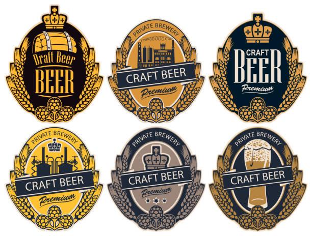 stockillustraties, clipart, cartoons en iconen met set labels voor bier en brouwerij in retro stijl - bier