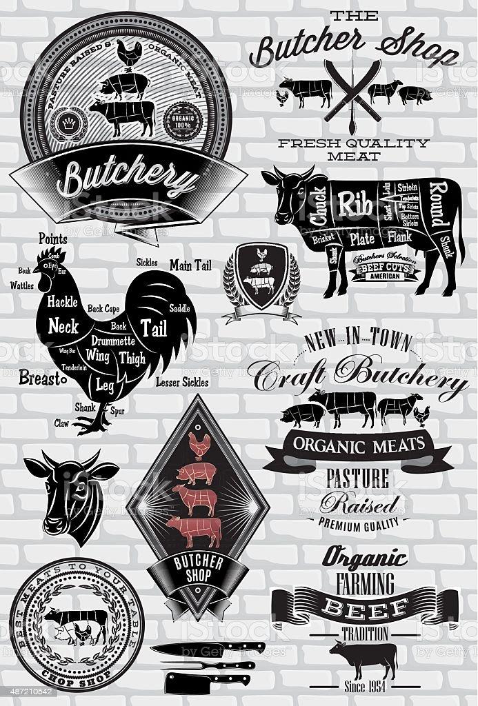set of labels for Butcher on brick wall vector art illustration