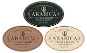 Vector set of labels for freshly roasted coffee beans. Coffee labels with coffee bean in oval frame in retro style with inscription Arabica.