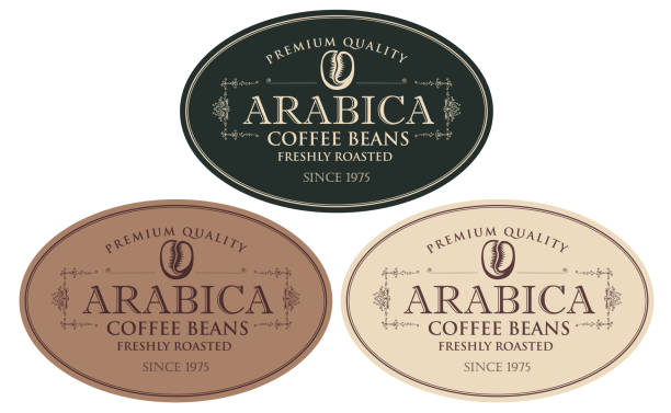set of labels for freshly roasted coffee beans Vector set of labels for freshly roasted coffee beans. Coffee labels with coffee bean in oval frame in retro style with inscription Arabica. cooking borders stock illustrations