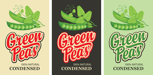 set of labels for green peas in retro style
