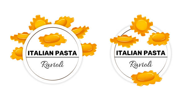 Set of labels for italian pasta, ravioli macaroni Set of labels for ravioli macaroni, italian pasta. Templates for package design, vector illustration isolated on white ravioli stock illustrations