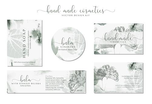 Set of labels for Natural organic herbal cosmetics. Elegant branding design