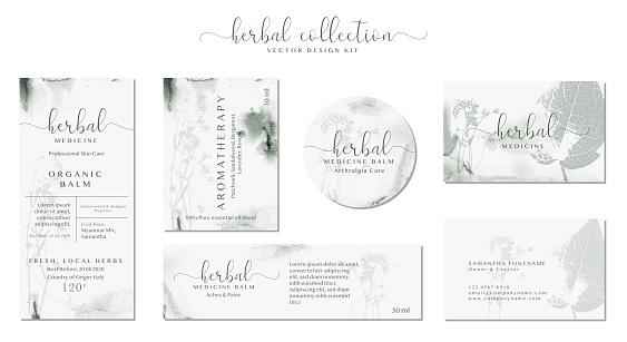 Set of labels for Natural organic herbal medicine. Elegant branding design
