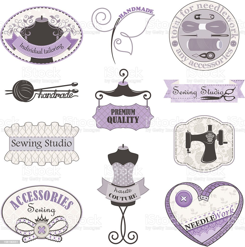 Set of labels for needlework and sewing studio. royalty-free stock vector art