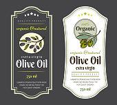 Set of Labels for Olive Oils. Elegant design for olive oil packaging.