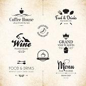 Set of labels for restaurant menu design