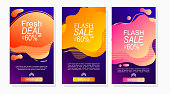 set of labels for sale and discount promotion stories with gradient color