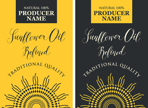 set of labels for sunflower oil with sunflower