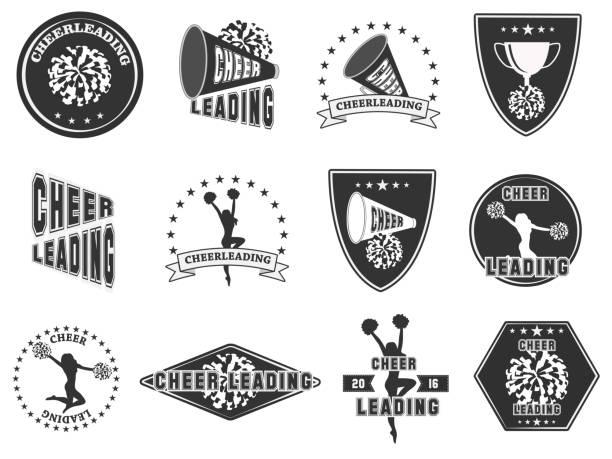 stockillustraties, clipart, cartoons en iconen met set etiketten, logo's voor cheerleading - pompon