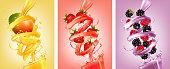 Set of labels of of fruit in juice splashes. Mango, strawberry, raspberry, blackberry. Vector.