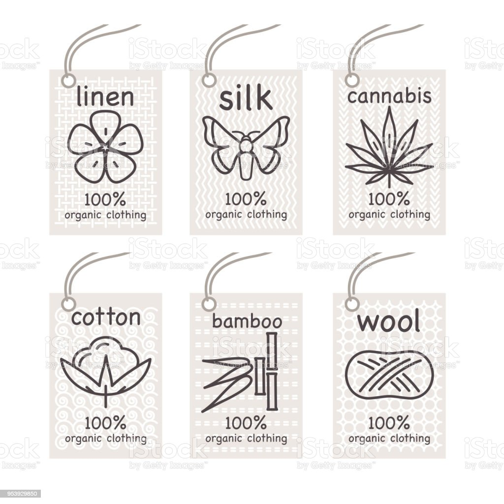 A set of labels organic tissues. vector art illustration