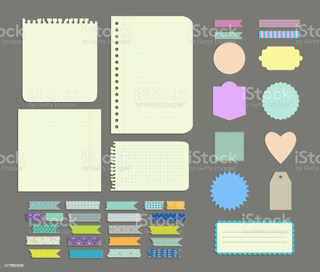 Set of labels, Patterned Wash Tape Strips, decor  elements vector art illustration