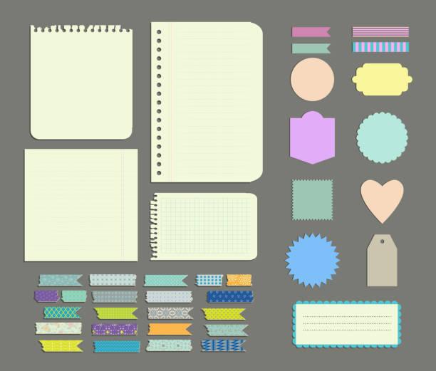 Set of labels, Patterned Wash Tape Strips, decor  elements Set of labels, Patterned Wash Tape Strips, decor and design elements scrapbook stock illustrations
