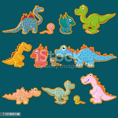 A set of labels. Prehistoric dinosaurs, carnivores and herbivores. Vector illustration.