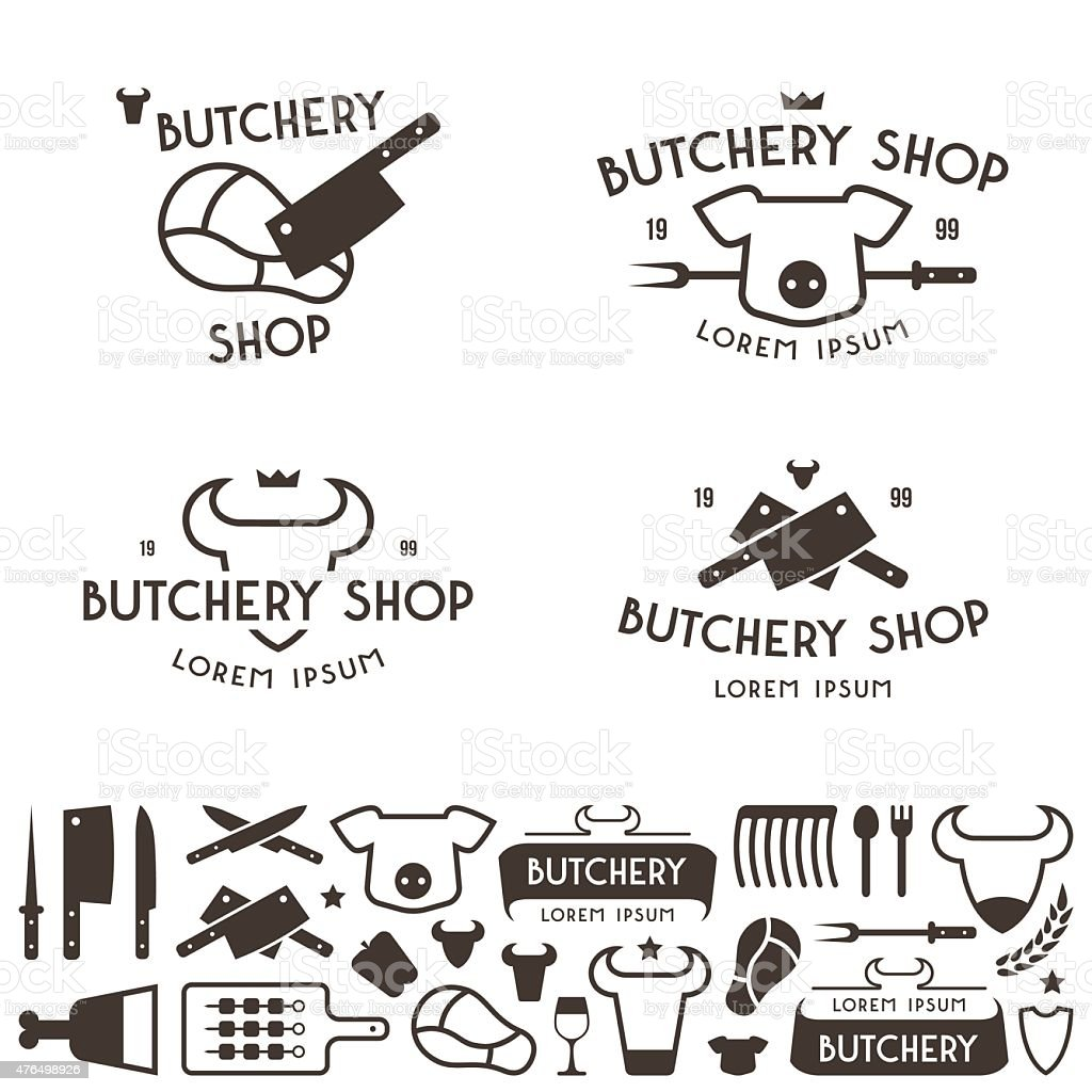 Set Of Labels Templates And Logo Butchery Shop