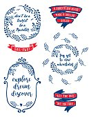 An original artwork vector illustration of several labels with quotation-text for romantic travellers. This labels design can be a travel postcard, invitation or flyer.