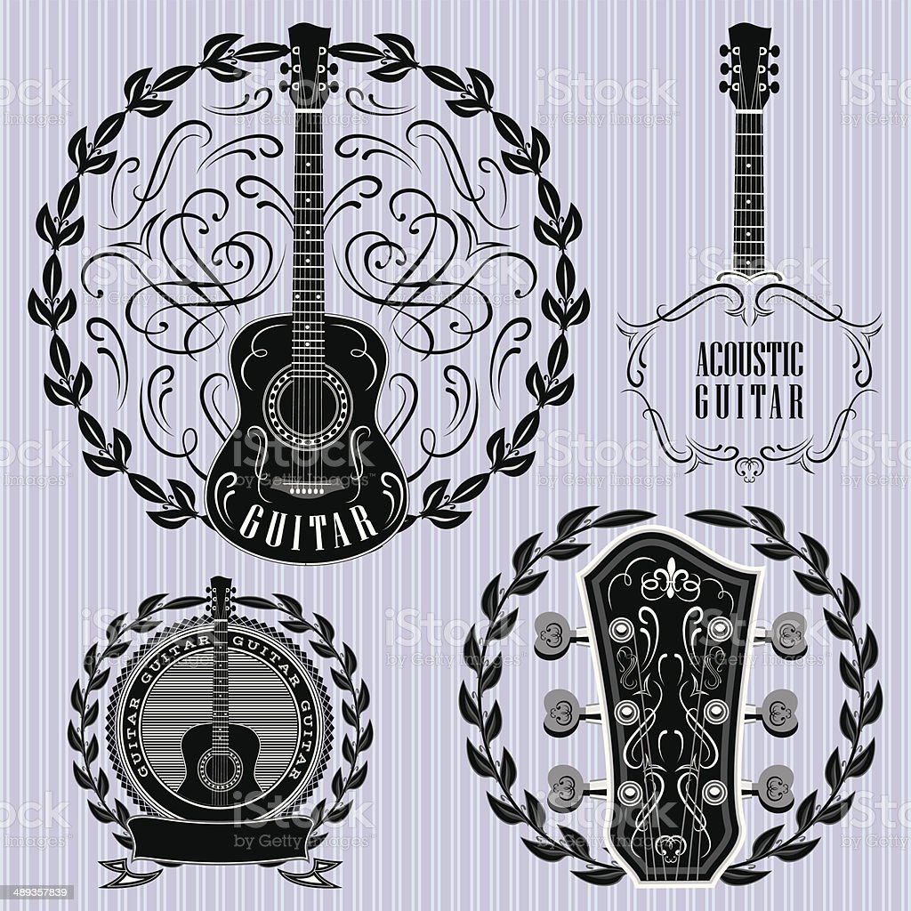 set of labels with acoustic guitars vector art illustration
