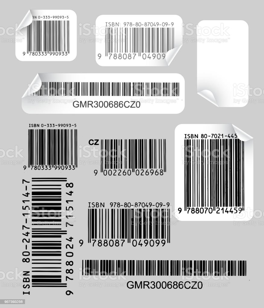 Set of  labels with bar codes vector art illustration