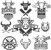 Set of labels with cow heads. Steak house, Fresh beef, butcher shop, grill.  Design element for  label, emblem, sign, badge. Vector illustration.