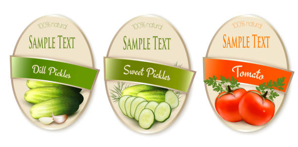 Set of labels with ecological tomato and pickles isolated. Vector illustration Set of labels with ecological tomato and pickles isolated. Vector illustration pickle slice stock illustrations