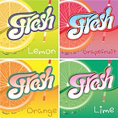 set of vector labels with fruit and fresh juice