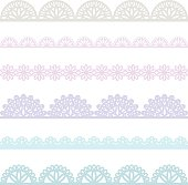 Set of lace borders, isolated on white.