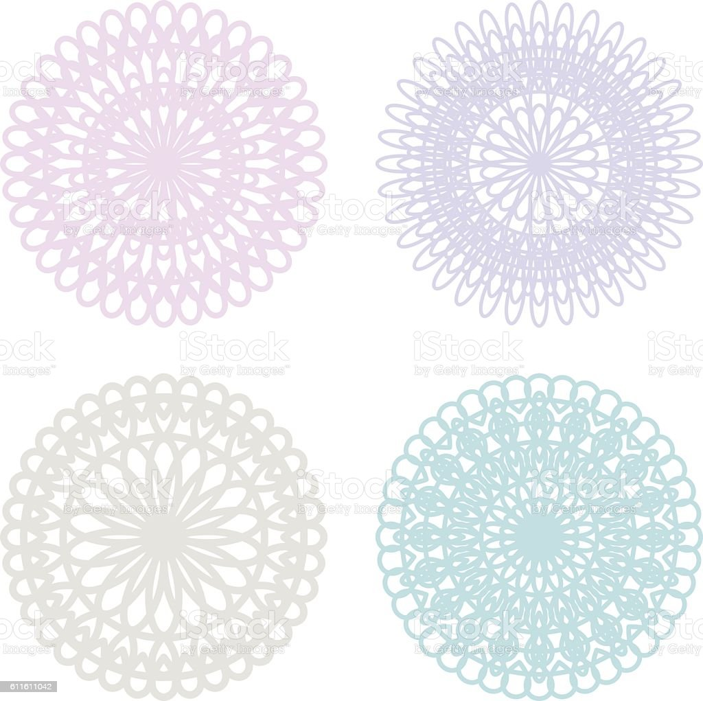 Set of lace doilies vector art illustration