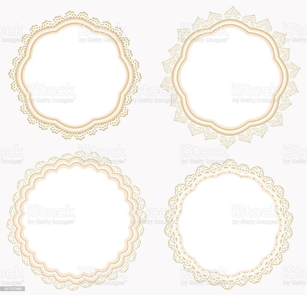 Set of lace napkins. vector art illustration