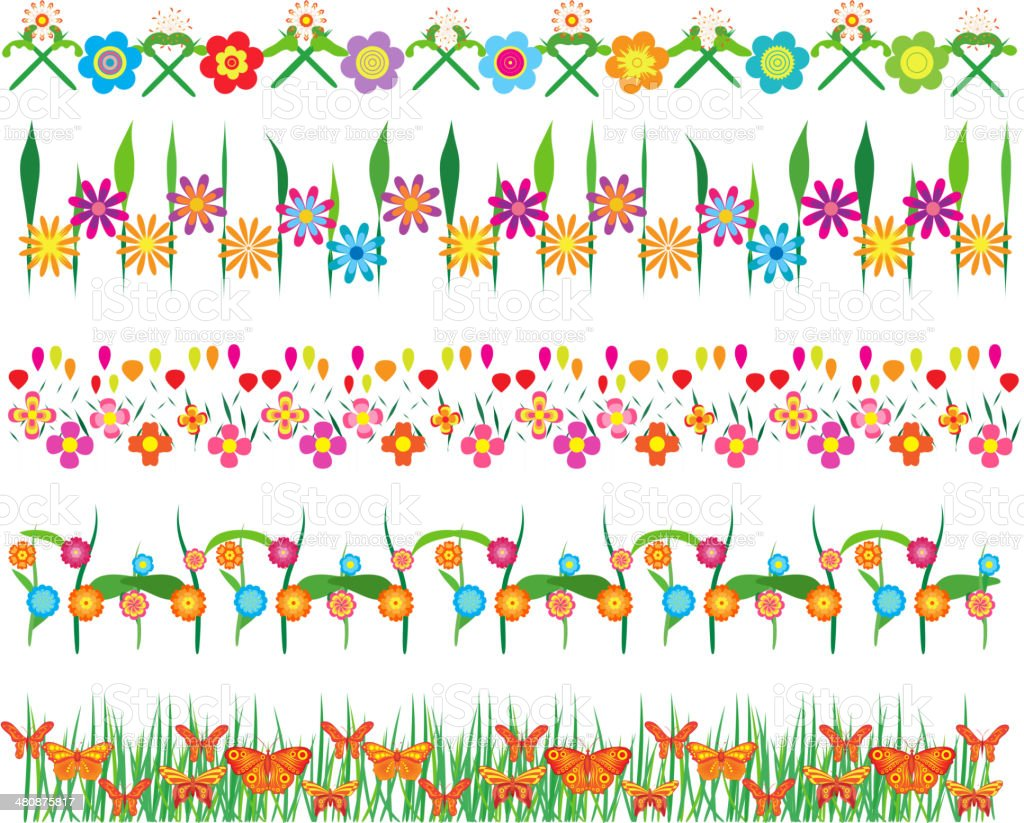 Set of Lace Paper with flower vector art illustration