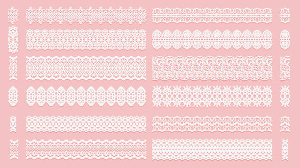 illustrazioni stock, clip art, cartoni animati e icone di tendenza di set of lace pattern brushes. tracery ribbons isolated on a pink background. elements for decor scrapbooking wedding invitations and cards. - pizzo