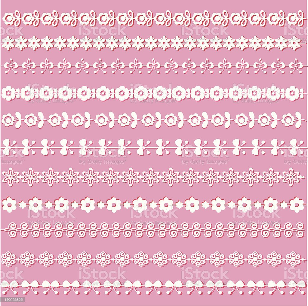 Set of lace ribbons. royalty-free set of lace ribbons stock vector art & more images of art and craft