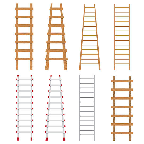 stockillustraties, clipart, cartoons en iconen met set of ladders. - ladder