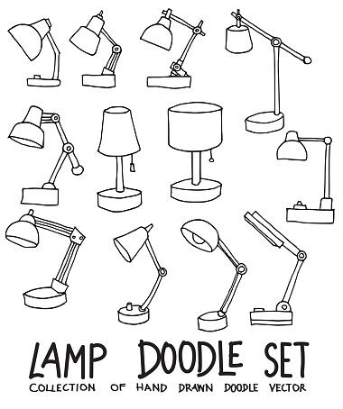 Set of Lamp Drawing illustration Hand drawn doodle Sketch line vector eps10