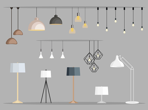 Set of lamps. Furniture chandelier, floor and table lamp in flat cartoon style. Vector illustration