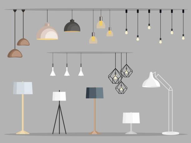 zestaw lamp. żyrandol meblowy, lampa podłogowa i stołowa w płaskim stylu kreskówkowym. ilustracja wektorowa - lampa elektryczna stock illustrations