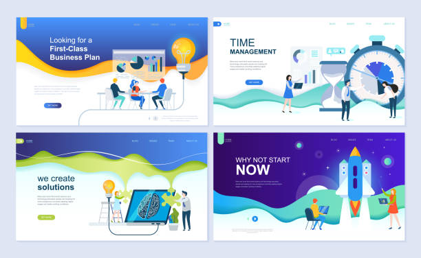 set of landing page template for business solutions, startup, time management, planning. modern vector illustration flat concepts decorated people character for website and mobile website development. - strona startowa stock illustrations
