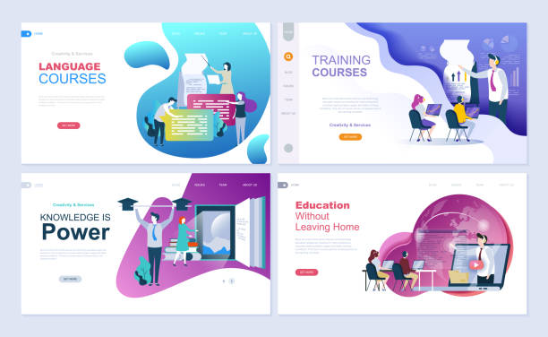 set of landing page template for education, consulting, training, language courses. - online learning stock illustrations