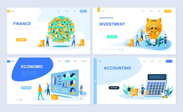Set of landing page template for Finance, Investment, Accounting, Economic Growth. – artystyczna grafika wektorowa