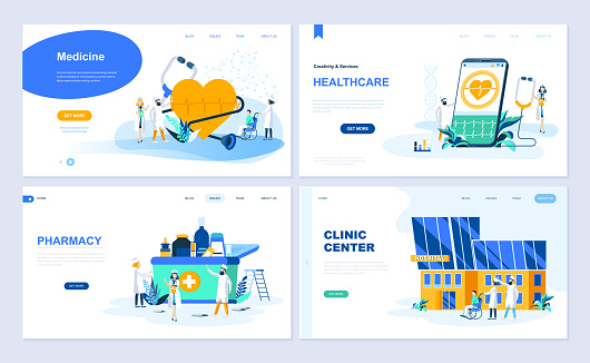 Set of landing page template for Medicine, Healthcare, Pharmacy, Clinic Center.